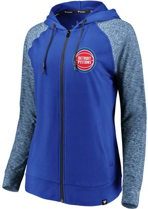 Möve Women's Fanatics Branded Blue/Heathered Blue Detroit Pistons Made to Static Raglan Performance Full-Zip Hoodie