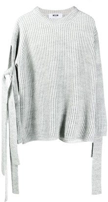 MSGM Knot-Detail Ribbed Knit Jumper