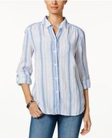Charter Club Linen Roll-Tab Striped Shirt, Created for Macy's