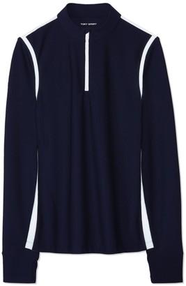 Tory Burch Reflective-Stripe Quarter-Zip Pullover