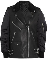 Alexander Wang Corduroy-trimmed Leather And Shell Biker Jacket - Black