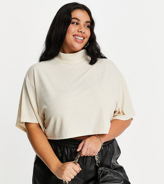 Lasula Plus high neck ribbed batwing top in beige