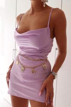 I SAW IT FIRST Lilac Cowl Neck Satin Mini Dress