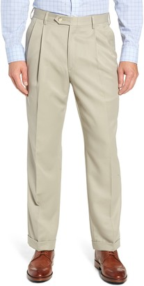 Berle Classic Fit Pleated Microfiber Performance Trousers