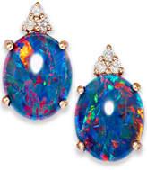 Macy's 14k Rose Gold Earrings, Opal Triplet and Diamond Accent Earrings