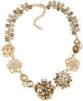 Carolee Gold-Tone Crystal and Imitation Pearl Flower Frontal Necklace