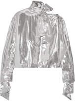 IRO Harjava Cold-shoulder Lamé Blouse - Silver