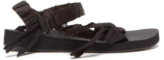 Arizona Love - Trekky Satin-wrapped Velcro-strap Sandals - Womens - Black