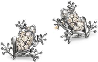 14K Black Rhodium Silver & Diamond Frog Stud Earrings