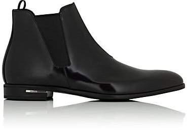 Prada Men's Spazzolato Leather Chelsea Boots - Black