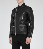 Reiss Rod Leather Biker Jacket