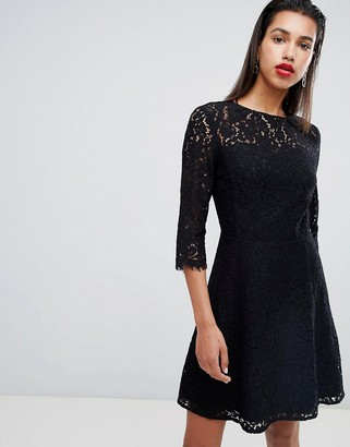 Morgan all over lace skater prom dress in black