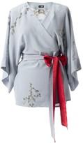 Castlebird Rose Silk Kimono Top Light Smoke Blue