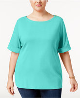 Karen Scott Plus Size Zip-Shoulder Elbow-Sleeve Top, Only at Macy's