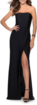 La Femme Strapless Long Jersey Dress