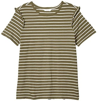 Lucky Brand Short Sleeve Crew Neck Stripe Ruffle Tee (Olive/Pink Stripe) Women's Clothing