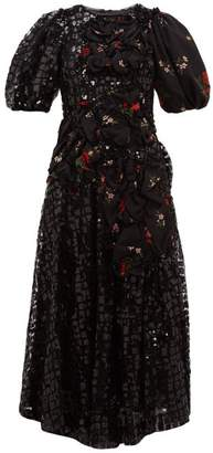 Simone Rocha Sequinned Floral-print Crepe Midi Dress - Womens - Black Multi