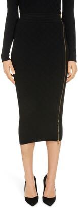 Balmain Side Zip Diamond Stitch Skirt