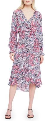 Parker Adele Floral Long Sleeve Silk Midi Dress