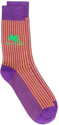 Etro Contrast Stripe Logo Socks