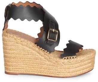 Chloé Lauren Leather Espadrille Platform Wedge Sandals