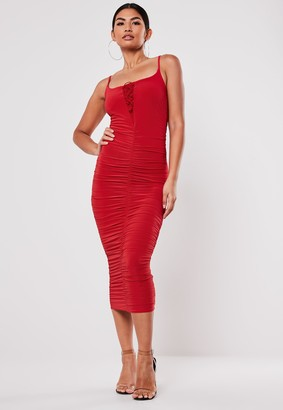Missguided Red Slinky Lace Up Midi Dress