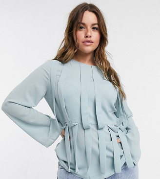 ELVI Plus panel detail blouse in gray