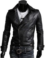 Win8Fong Trendy Men Cargo Pockets Zipper Casua PU / FAUXeather Winter Sim Jacket