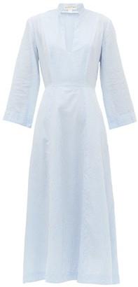 Wiggy Kit - Summer Cottage Cotton-seersucker Midi Dress - Womens - Blue Multi