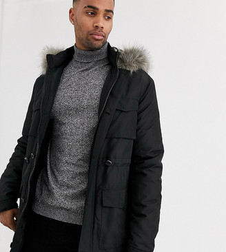ASOS DESIGN Tall hooded parka with detachable faux fur trim in black