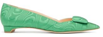 Rupert Sanderson New Aga Pebble Point-toe Moire Flats - Womens - Green