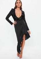 Missguided Plunge Satin Frill Midi Dress