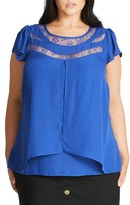 City Chic Lace Inset Cap Sleeve Top (Plus Size)