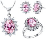 Babao Jewelry Jewelry Sets Babao Jewelry Sweet Pink 18K Platinum Plated Cubic Zirconia Crystals Pendant Necklace Earrings Set Ring Size 9
