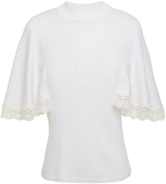 See by Chloe Embroidered Tulle-trimmed Cotton-blend Top