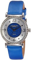 Stuhrling Original Women's 711.02 Vogue Audrey Astra Swiss Quartz Diamond Blue Leather Strap Watch