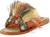 Sanchita Beaded Raffia Slide Sandal