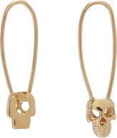 Loren Stewart Gold Skull Safety Pin Earrings