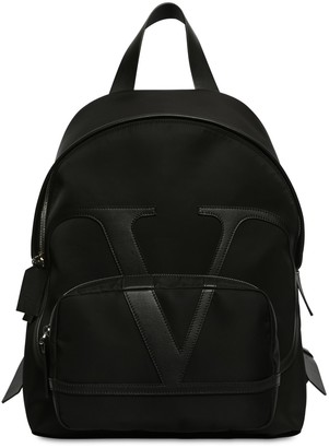 Valentino Nylon Backpack W/ Leather V-Logo