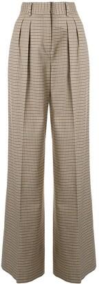 Rebecca Vallance Cocoa high-rise wide-leg checked trousers