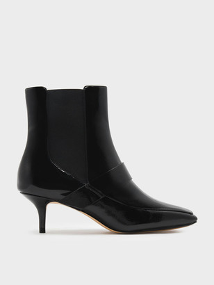 Charles & Keith Square Toe Kitten Heel Boots