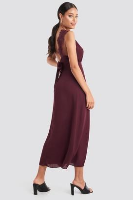 NA-KD Thin Strap Lace Back Dress Black