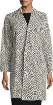 Bobeau Geometric-Print Textured Duster Jacket, Gray