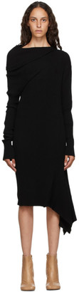 Marques Almeida Black Rib Knit Draped Dress