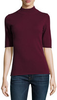 philosophy Cashmere Half-Sleeve Mock-Neck Top, Burgundy