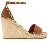 Valentino Rockstud leather espadrille wedge sandals
