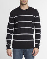 Lacoste Speckled Grey Crocodile Logo Striped Wool Round-Neck Jumper