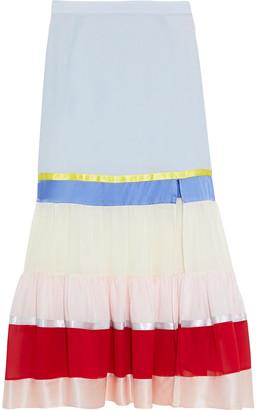 Altuzarra Jib Color-block Crepe De Chine, Georgette And Satin Midi Skirt