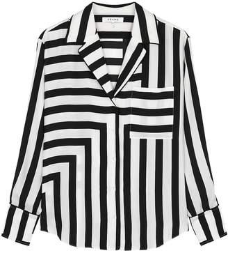 Frame Monochrome Striped Silk Shirt