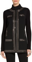 St. John Sequin Mandarin Collar Knit Vest